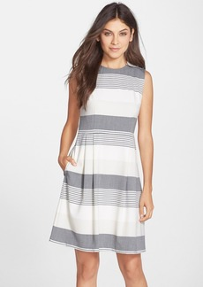 Marc New York by Andrew Marc Stripe Stretch Fit & Flare Dress