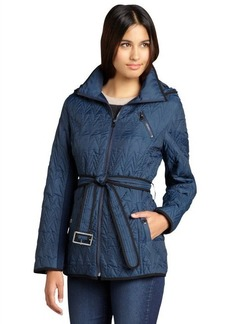 Marc New York cadet blue quilted rib trim optional hood belted 'Quinlee' jacket