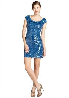 Marc New York capri sequined mesh draped neck party dress