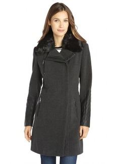 Marc New York charocal wool blend faux fur collar 'Paula' coat