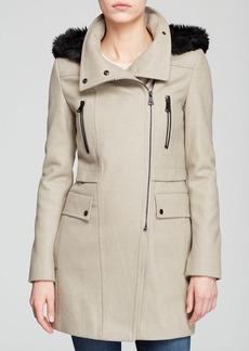 Marc New York Faux-Fur Trimmed Ella Asymmetric Trench Coat