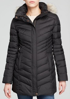 Marc New York Fur-Trimmed Kara Chevron Down Coat
