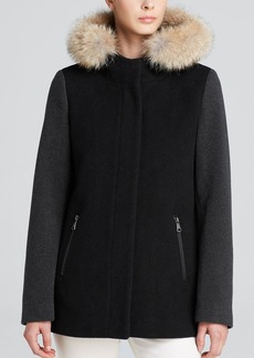 Marc New York Fur-Trimmed Portia A-Line Coat