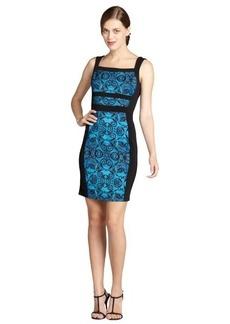 Marc New York cobalt and black mosaic printed evening dress