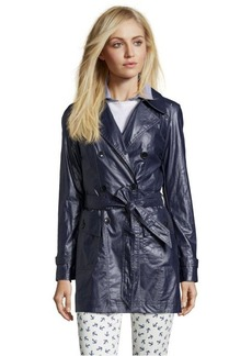 Marc New York denim coated linen 'Iris' double-breasted trench coat
