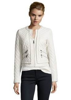 Marc New York eggshell quilted leather 'Sandie' zip front jacket