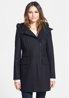 Marc New York 'Ella' Faux Fur Trim Asymmetrical Wool Blend Coat (Online Only)