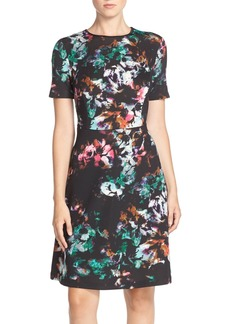Marc New York Floral Print Scuba Fit & Flare Dress