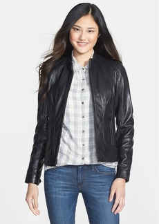 Marc New York Front Zip Leather Jacket (Regular & Petite) (Online Only)