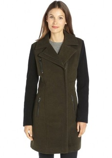 Marc New York green and black wool blend colorblock 3/4 length coat