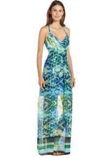 Marc New York green and blue chiffon geo scarf print maxi dress