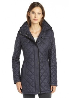 Marc New York ink blue woven quilted hooded 'Fay' coat