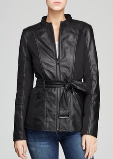 Marc New York Belted Bubble Leather Jacket