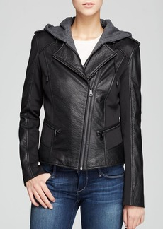 Marc New York Belle Bubble Leather Jacket with Hood