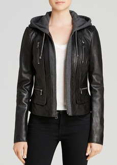 Marc New York Mila Hooded Leather Jacket