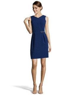 Marc New York navy textured stretch v-neck zipper detail dress