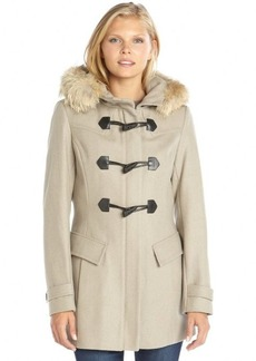 Marc New York oatmeal wool blend fur trim hooded toggle front 'Erin' coat