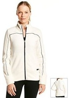 Marc New York Performance Fleece Jacket With Faux Leather Piping
