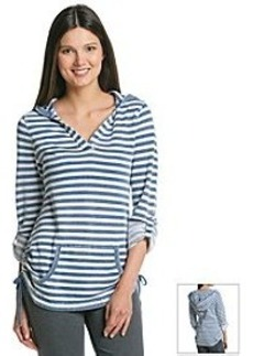 Marc New York Performance Striped Roll Sleeve Hooded Tunic