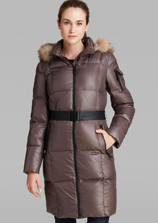 Marc New York Puffer Coat - Abbie Fur Trimmed Hood Belted