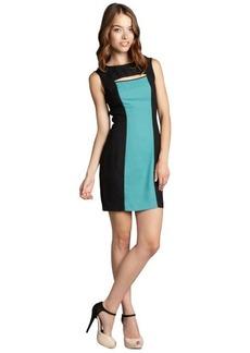 Marc New York sage and black colorblock stretch crepe slit neck shift dress