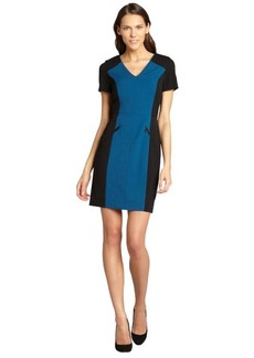 Marc New York turquoise and black colorblock dress