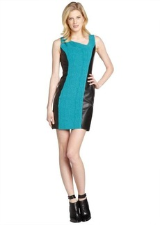Marc New York turquoise and black flocked faux leather trimmed open back dress