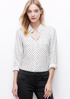 Bow Print Crepe Button Down Shirt