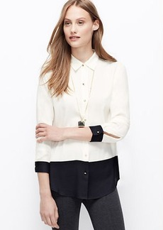 Colorblock Crepe Blouse