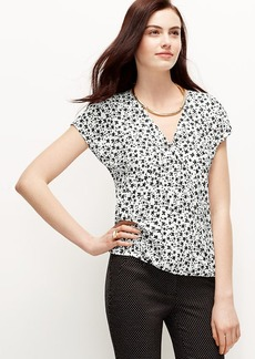 Daisy Print Crepe Wrap Top