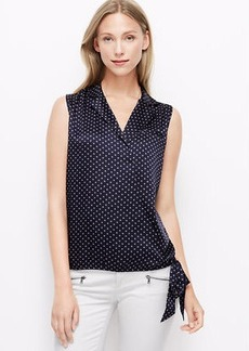 Dot Collared Wrap Top