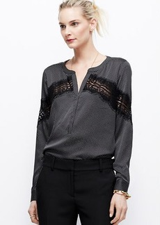 Dotted Crepe Placed Lace Blouse