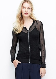 Dotted Mesh Zip Front Cardigan