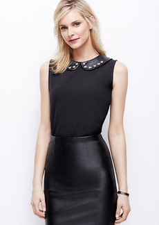 Embellished Faux Leather Collar Crepe Shell