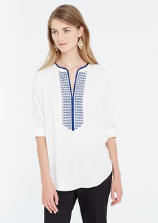 Embroidered Split Neck Tunic