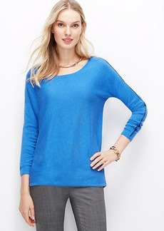 Faux Leather Piped Sweater