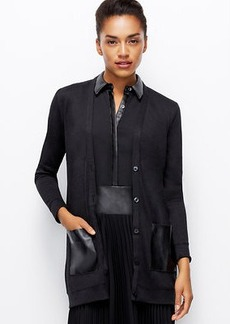 Faux Leather Pocket Cardigan