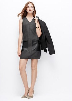 Faux Leather Pocket Shift Dress