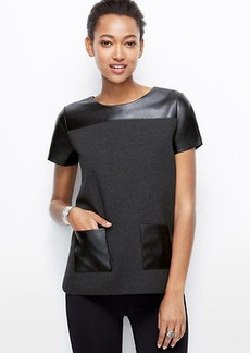 Faux Leather Pocket Top