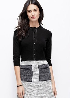 Faux Leather Trim Cropped Cardigan