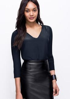 Faux Leather Trim Silk Tunic