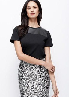 Faux Leather Yoke Ponte Top