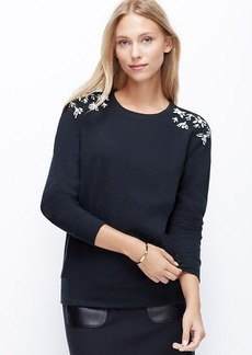 Jeweled Shoulder Sweatshirt