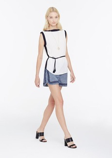Petite Belted Colorblock Shell