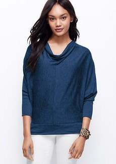 Petite Button Back Cowl Neck Top