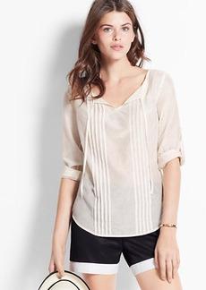 Petite Cotton Silk Peasant Blouse