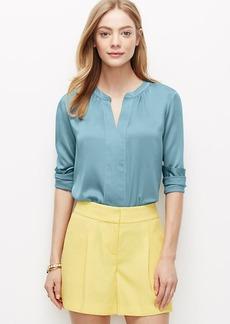 Petite Crepe Shirred Popover Shirt