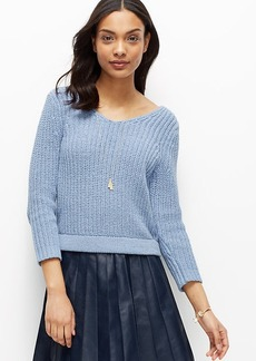 Petite Cropped V-Neck Sweater