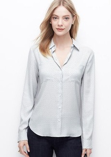 Petite Dashed Crepe Button Down Shirt
