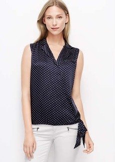 Petite Dot Collared Wrap Top